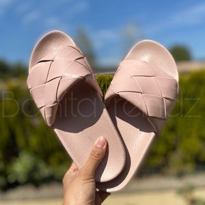 Nude Quilted Slides Sandals